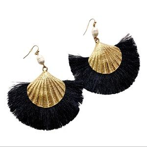 3 / $25 Gold & Black Seashell Tassel Earrings